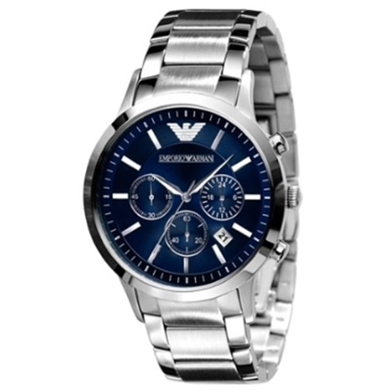 Picture of Emporio Armani Classic Chronograph Watch with Blue Dial