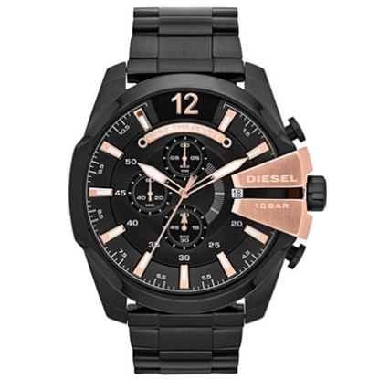 Picture of Diesel Mega Chief Watch - Black with Rose Gold Accent Dial