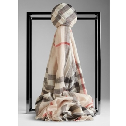 Picture of Burberry Wool Check Silk Scarf - Stone Check