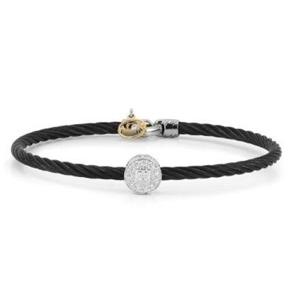 Picture of ALOR Noir Black Cable Bangle with Round Diamond Accent