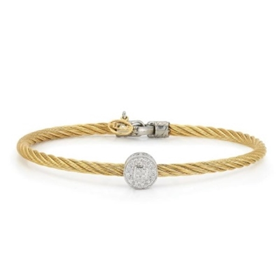 Picture of ALOR Classique Gold-Tone Cable Bangle with Round Diamond