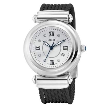 Picture of ALOR Forte California Watch with Black Strap & Diamonds