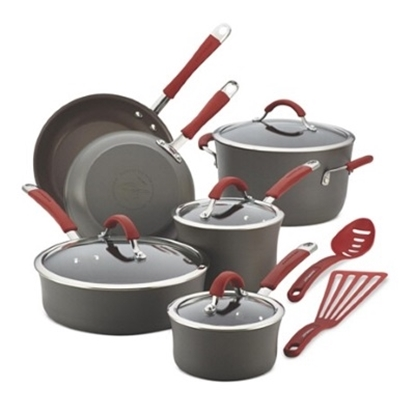 Picture of Rachael Ray Cucina Hard Anodized 12PC Cookware- Cranberry Red