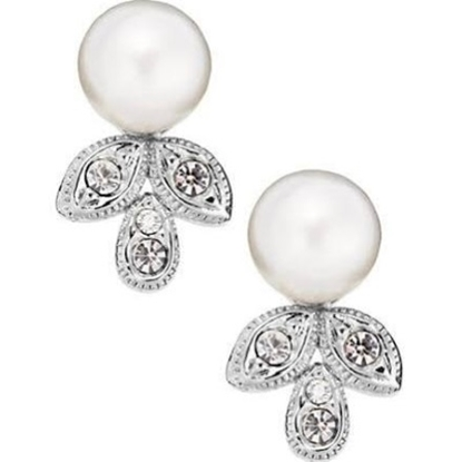 Picture of Nadri Crystal Leaf Drop Pearl Earrings