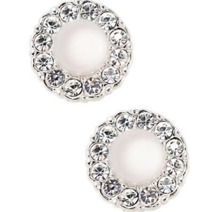 Picture of Nadri Small Pearl Framed Stud Earrings