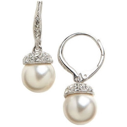 Picture of Nadri Pearl Drop Pave Cap Drop Earrings