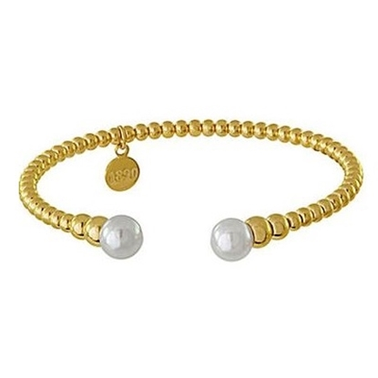 Picture of Majorica 8mm White Pearl & Bead Cuff Bracelet - Gold-Tone