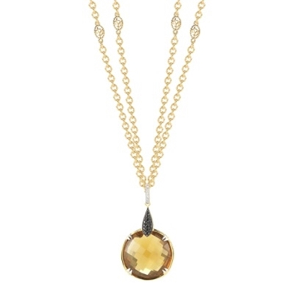 Picture of DeLatori® Pompeii Whiskey Quartz & Black Spinel Necklace