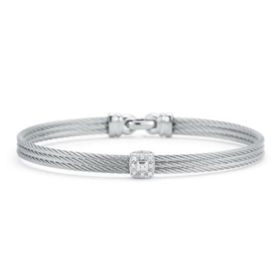 Picture of ALOR Classique White Gold/Grey Steel Diamond Bangle