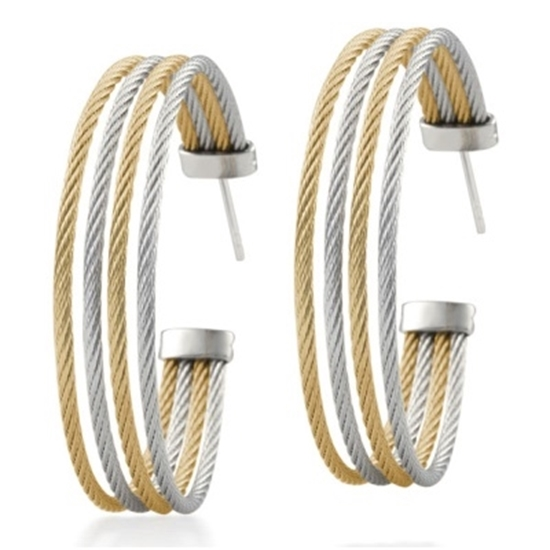 Picture of ALOR Modern Cable Mix White Gold & Yellow Steel Hoop Earrings