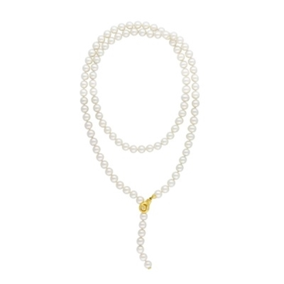 Picture of Majorica 8mm White Round Pearl Strand Necklace - 35''