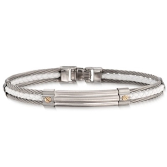 Picture of ALOR® Gentlemen's Stainless Steel & White Leather Bangle