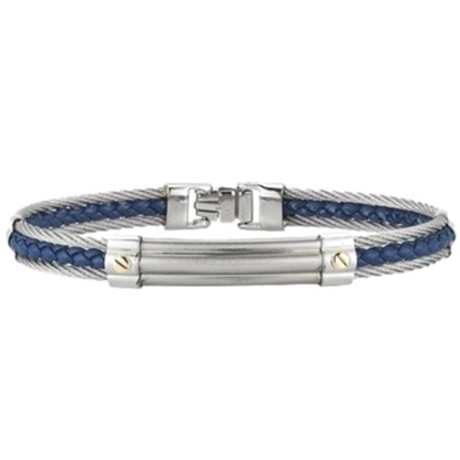 Picture of ALOR® Gentlemen's Stainless Steel & Blue Leather Bangle