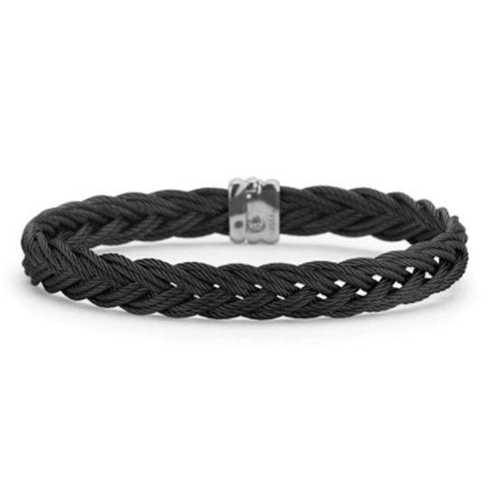 Picture of ALOR® Gentlemen's Black Stainless Steel 10-Row Bangle