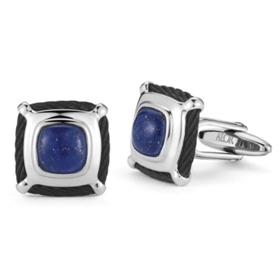 Picture of ALOR® Gentlemen's Black and Blue Lapis Cuff Links