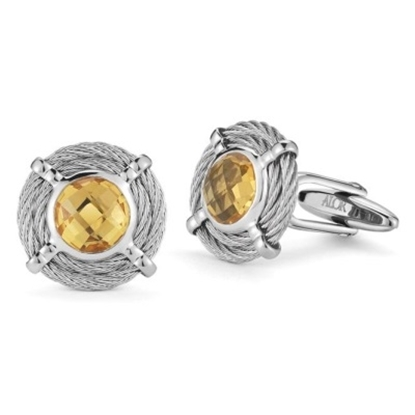 Picture of ALOR® Gentlemen's Round Citrine Cuff Links