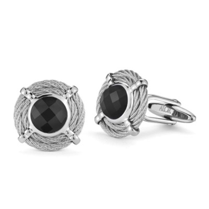Picture of ALOR® Gentlemen's Round Black Onyx Cuff Links