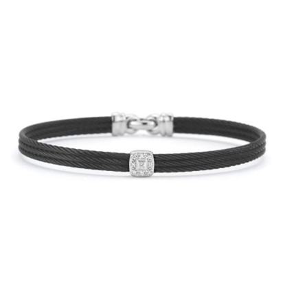 Picture of ALOR® Noir Black Stainless Steel Bangle with Diamonds