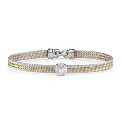 Picture of ALOR® Classique Bangle with Grey/Yellow Steel & Diamonds