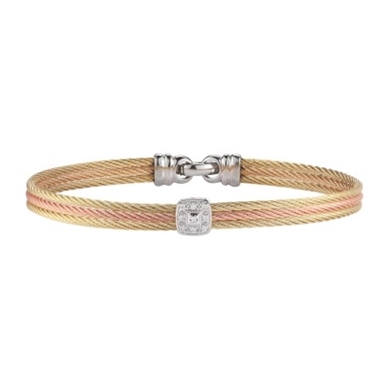 Picture of ALOR Classique Yellow/Rose Gold & Stainless Steel Bangle