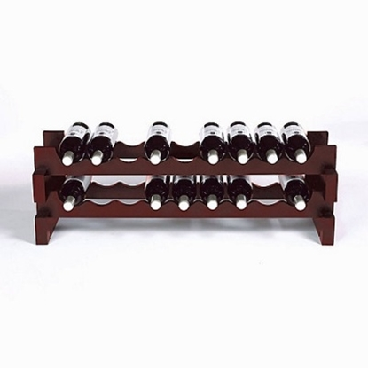 Picture of Wine Enthusiast 18-Bottle Stackable Wine Rack Kit - Mahogany