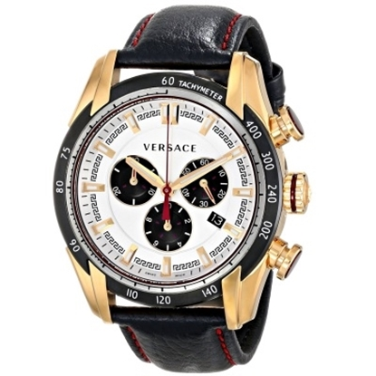 Picture of Versace V-Ray Men's Rose Gold Chrono with Black Leather Strap