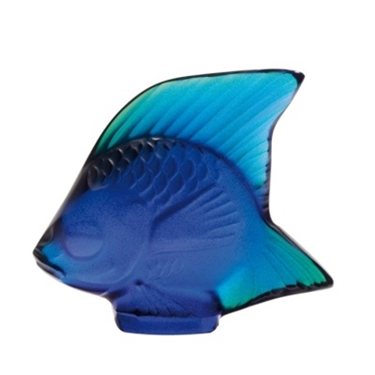 Picture of Lalique Fish Figurine - Ferrat Blue Lustre