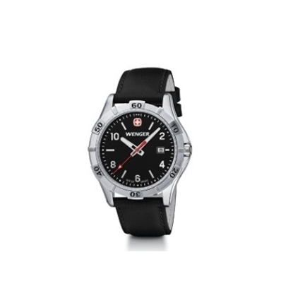 Picture of Wenger Men's Platoon Watch with Black Leather Strap Watch