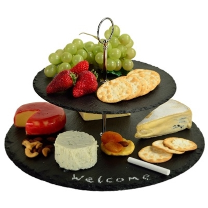 Picture of Picnic at Ascot Serat Two-Layer Slate Cheese Board & Tools