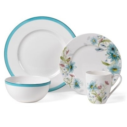 Picture of Mikasa Cadence Bloom Teal 16-Piece Dinnerware Set