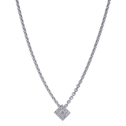 Picture of ALOR Flamme Blanche Square Diamond Necklace - 0.23 tcw.