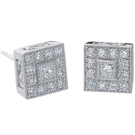 Picture of ALOR Flamme Blanche Diamond Square Earrings - 0.46 tcw.
