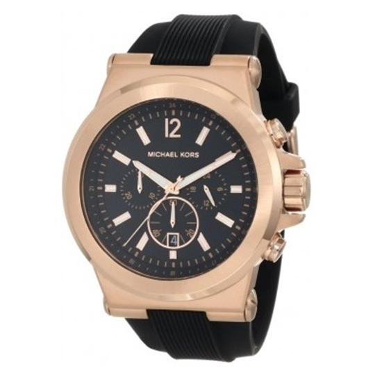 cb15b5191db7 Picture of Michael Kors Men s Dylan Silicone Watch with Rose-Gold Case