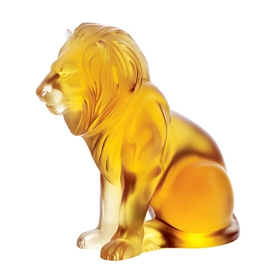 Picture of Lalique Bamara Lion - Amber