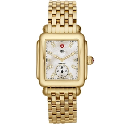 Picture of Michele® Deco 16 Gold Bracelet Watch with Diamond Dial
