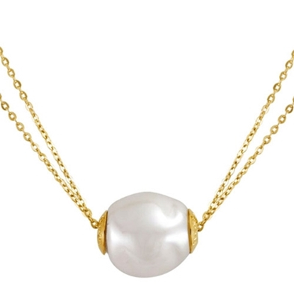 Picture of Majorica Gold Two Row White Baroque Pearl Necklace