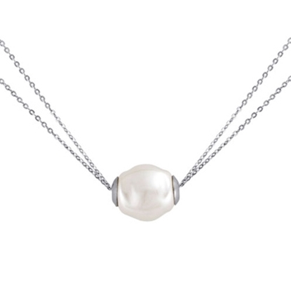 Picture of Majorica Silver Two Row White Baroque Pearl Necklace