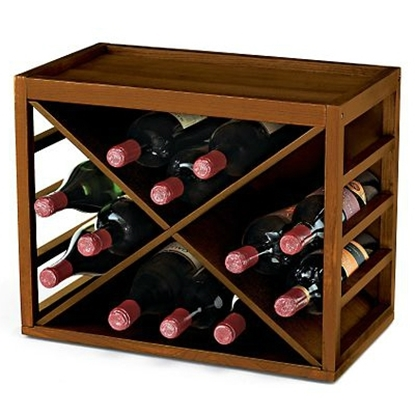 Picture of Wine Enthusiast 12 Bottle X Cube-Stack Wine Rack (Walnut Stain)