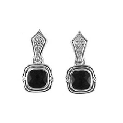 Picture of Scott Kay Diamond and Onyx Drop Earrings