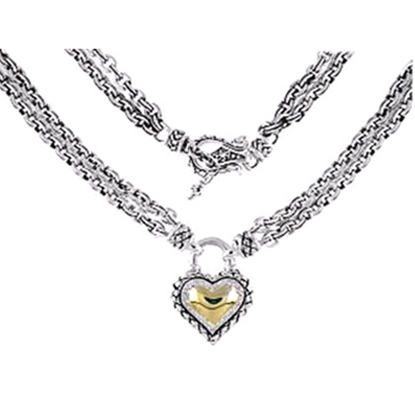 Picture of Scott Kay 18K Diamond Heart Chain Necklace