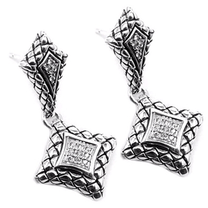 Picture of Scott Kay Diamond Drop Basketweave Earrings