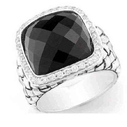 Picture of Scott Kay Onyx Basketweave Ring - Size 7