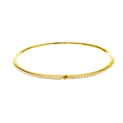Picture of Nadri Channel-Set Crystal Hinged Bangle - 18K