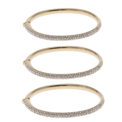 Picture of Nadri Gold Micropave Oval Half Bangle - Set of 3