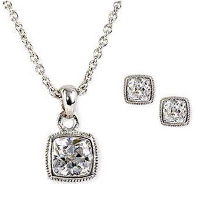 Picture of Nadri Square Bezel Pendant Necklace & Earrings