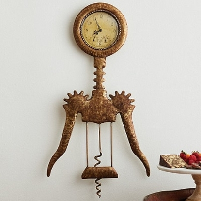 Picture of Wine Enthusiast Gold-Brushed Winged Corkscew Clock