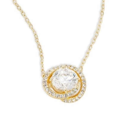 Picture of Nadri Cubic Zirconia Button Pendant Necklace - Gold/Clear