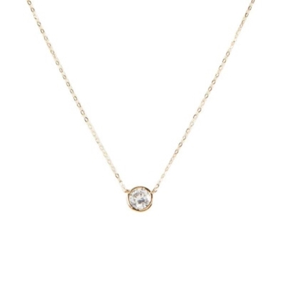 Picture of Nadri Chanel 6mm Cubic Zirconia Pendant Necklace - Gold-Tone