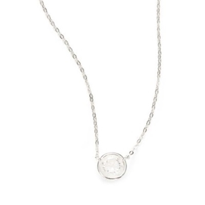 Picture of Nadri Chanel 6mm Cubic Zirconia Pendant Necklace - Rhodium