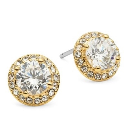 Picture of Nadri Cubic Zirconia Gold-Tone Stud Earrings - Gold/Clear